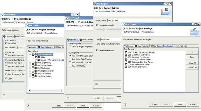 QNX Momentics Tool Suite Project Wizards